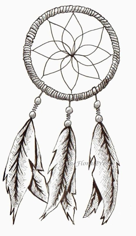 Simple flower in dream catcher with feather tattoo make on for Dreamcatcher tattoo template