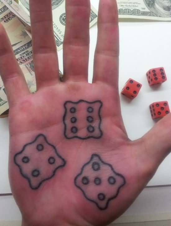 Simple Grey Ink Nice Dice Tattoo Design Make On Palm