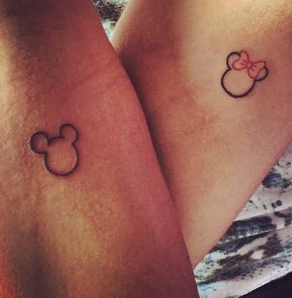 Simple Mickey Mouse Couple Face Tattoo Design Made By Artist