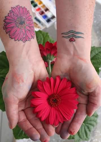 92c00134446a3 Simple Small red Heart And Aquarius Sleeve Tattoo Design With Lovely Pink  Daisy Flower