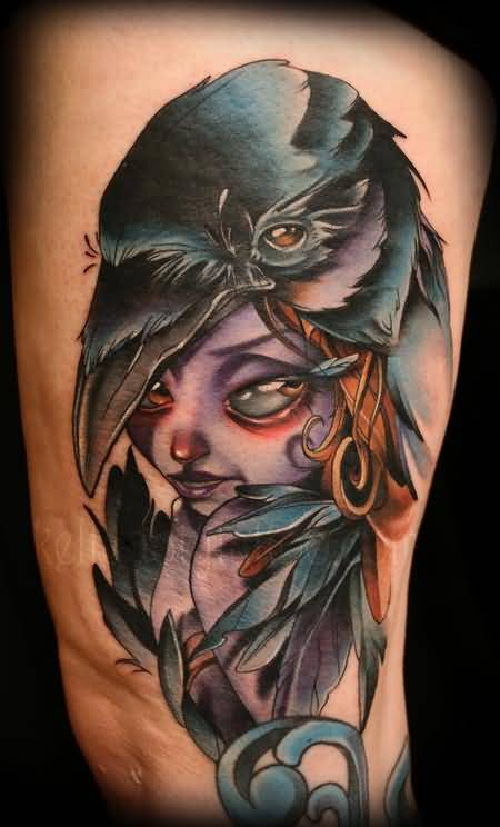 Sweet Crazy Girl Face And Funky Crow Face Tattoo Made By Colorful Ink