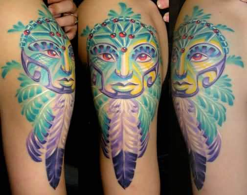 Traditional Colorful Face And Dream Catcher Tattoo Design With Simple Feather