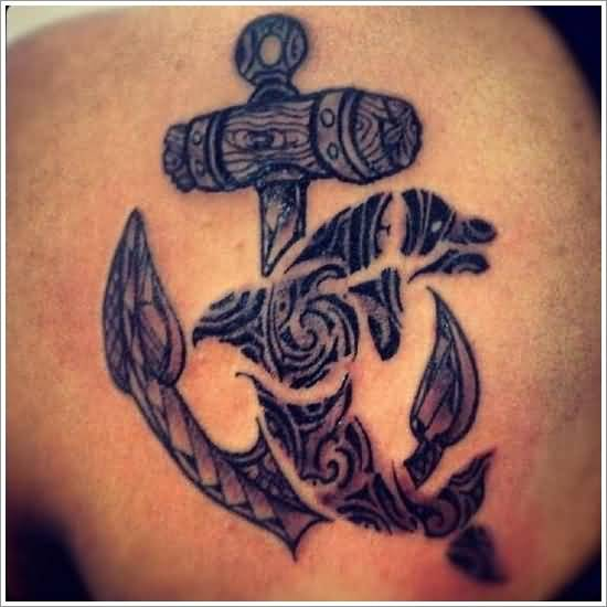 Traditional Old Anchor And Nice Looking Crawling Dolphin Tattoo