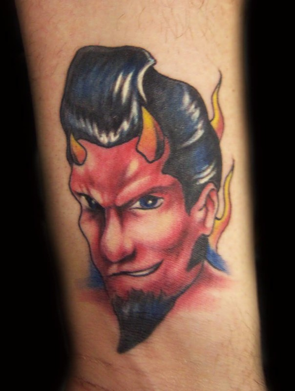 Traditional Old Devil Face Tattoo Design Made By Perfect Artist