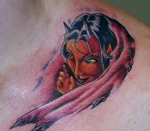 Ultimate Scary Horns Beautiful Devil Girl Tattoo Design For Cool Men