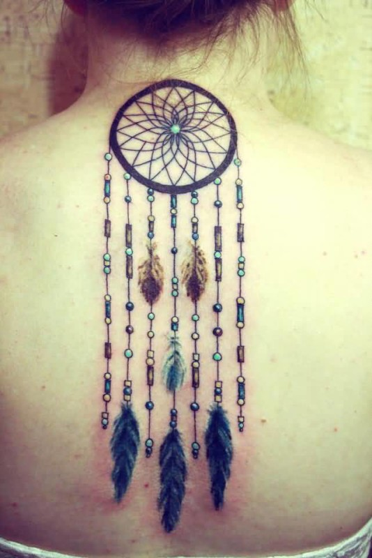 Ultimate Upper Back Cover Up With Realistic Dream Catcher Flower Tattoo