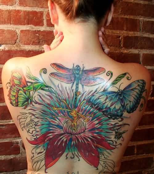 Ultimate Upper Back Decorated With Brilliant Colorful Butterflies And Lovely Red Roses With Nice Dragonfly Tattoo