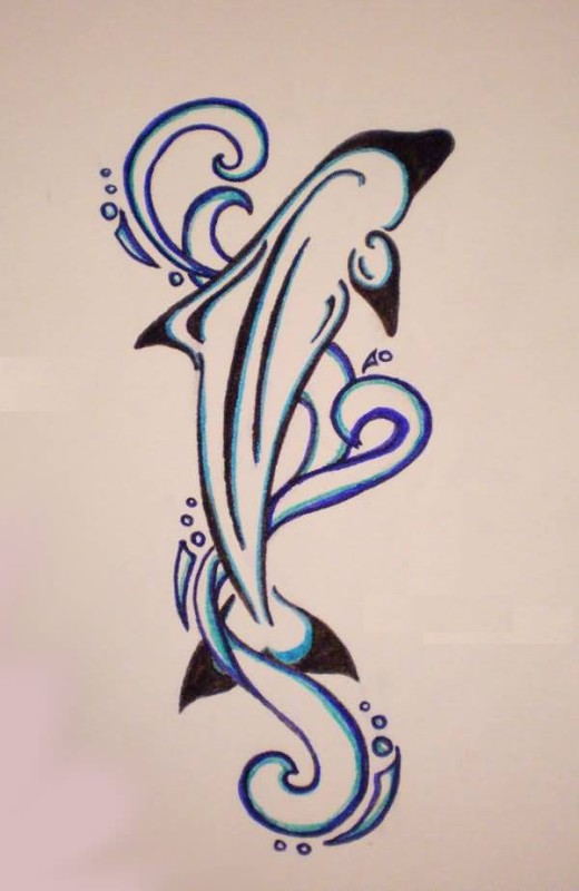 simple maori dolphin tattoo design make on paper. Black Bedroom Furniture Sets. Home Design Ideas