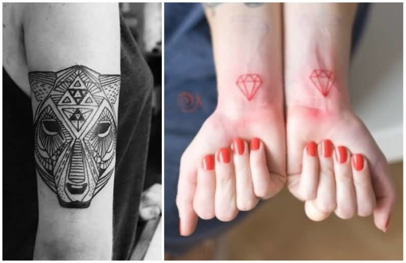 Upper And Lower Sleeve Cover Up With Ultimate Geometric Lion And Colorful Diamond Tattoo