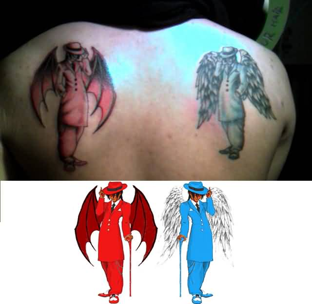 Upper Back Cover Up With Dangerous Devil Skull Men With Face Tattoo Design