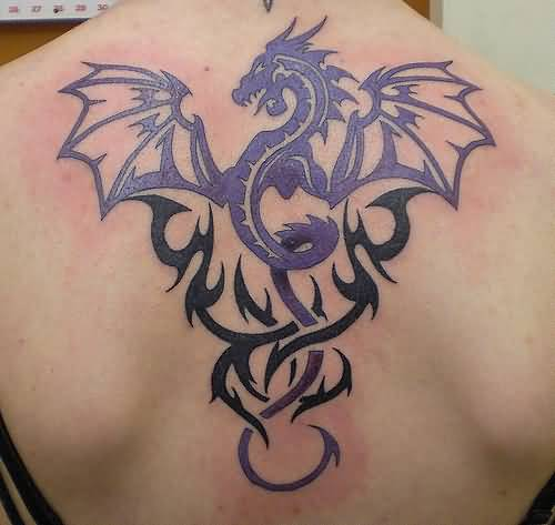 Upper Back Cover Up With Outstanding Black Tribal And Dragon Tattoo Design