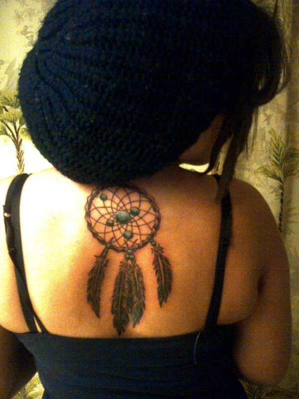 Upper back cover up with outstanding dream catcher and for Cover up tattoos for women