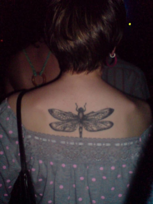 Upper Back Cover Up With Outstnaidng Simple Dragonfly Tattoo For Women