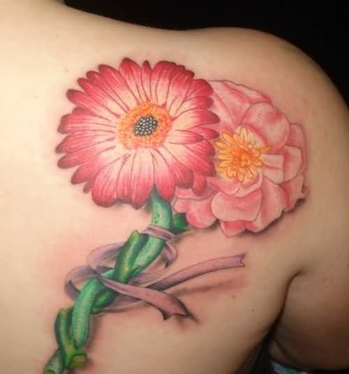 Upper Back Decorated With Mind Blowing Colorful Daisy Flower Tattoo