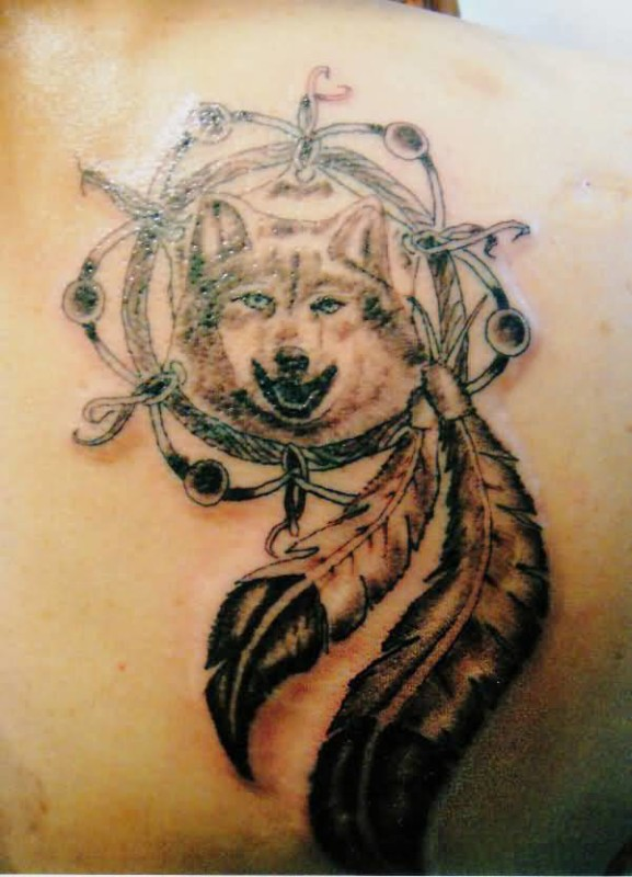 Upper Side Back Cover Up With Outstanding Angry Wolf Dream Catcher Animal Tattoo