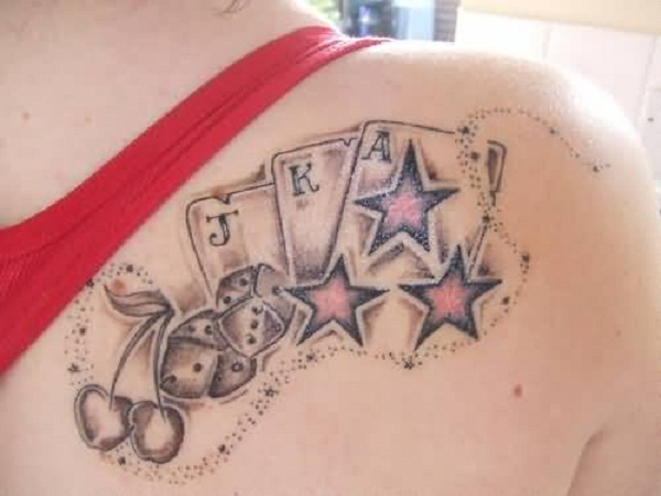 Upper Side Back Cover up With Ultimate Glowing Star With Dice And Nice Looking Cards Tattoo For Women