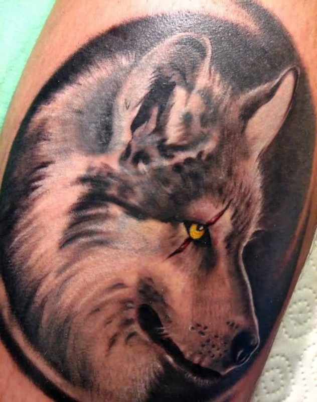 Upper Sleeve Cover Up With Brilliant Famous Husky Dog Tattoo