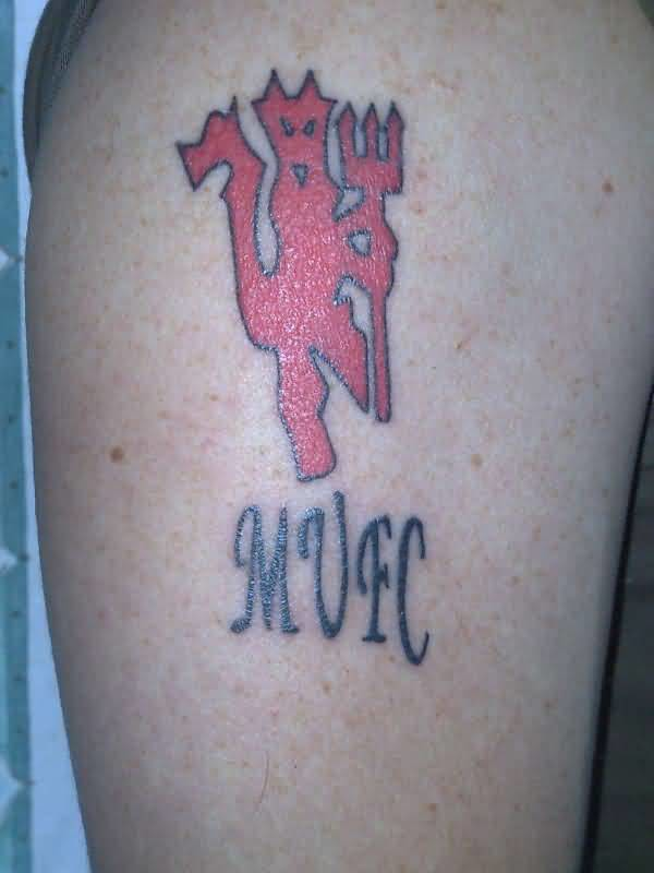 Upper Sleeve Cover Up With Manchester United Red Ink Devil Tattoo For Cool Men