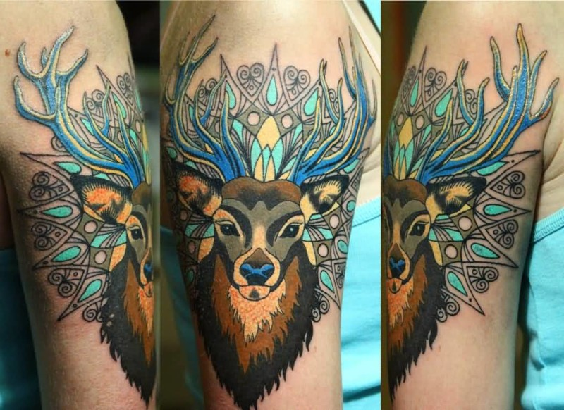 Upper Sleeve Cover Up With Outstanding Colorful Deer Tattoo