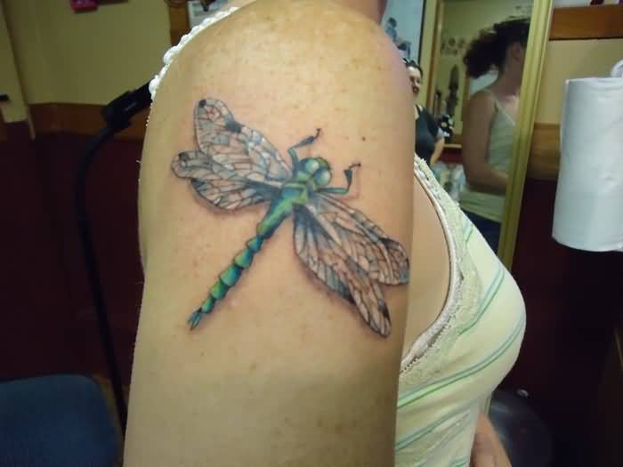 Upper Sleeve Cover Up With Outstnading Dragonfly Tattoo For Women