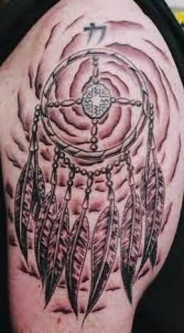 Upper Sleeve Cover Up With Simple Dream Catcher Tattoo Design For Men