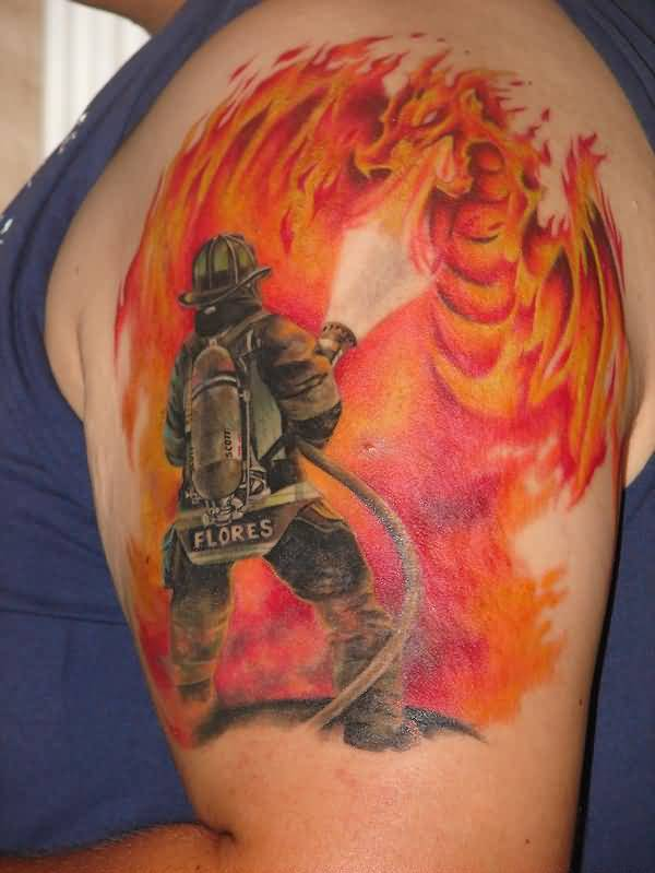 Upper Sleeve Decorated With Firemen And Flaming Dragon Tattoo