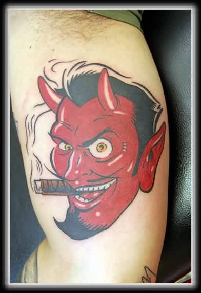 Upper Sleeve Decorated With Rd Ink Addicated Smiling Devil Face Tattoo For Men
