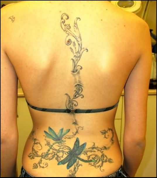 Women Back Decorated With Mind Blowing Dragonfly Tattoo