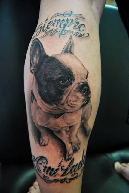 Women Back Leg Cover Up With Nice Looking Dog Head And Text Tattoo