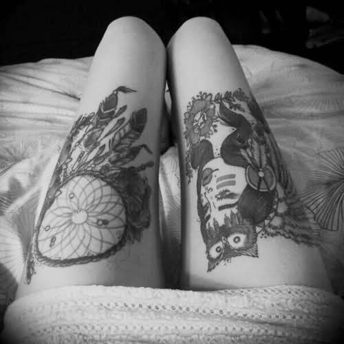 Women Both Thigh Cover Up With Black And White Sweet Flower Dream Catcher And Crazy Owl Tattoo
