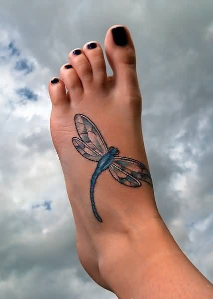 Women Foot Cover Up With Classy Dragonfly Tattoo Made By Ink