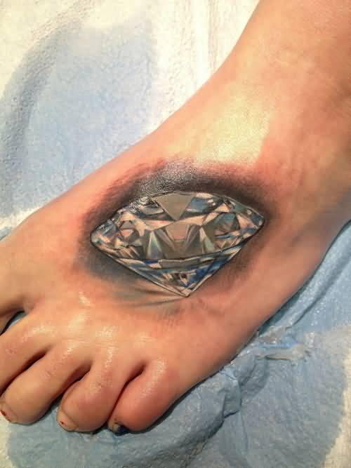 Women Foot Decorated With Realisitc Shining Diamond Tattoo Design Made By Perfect Artist