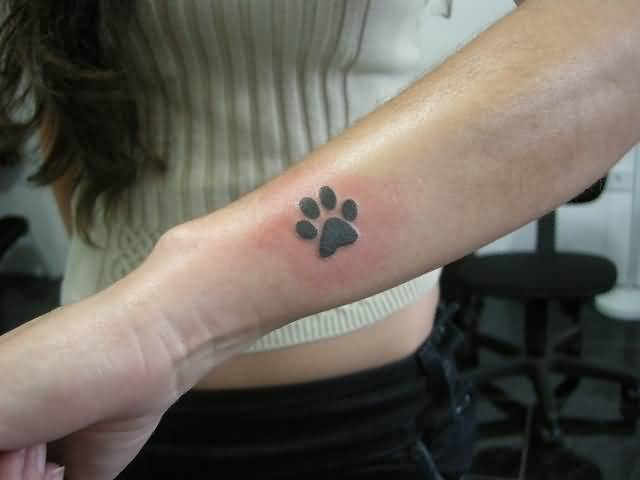 Women Lower Sleeve Cover Up With Outstanding Black Dog Paw Tattoo