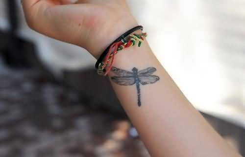 Women Lower Sleeve Cover Up With Simple Dragonfly Tattoo