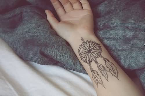 Women Lower Sleeve Cover Up With Wonderful Dream Catcher  Tattoo