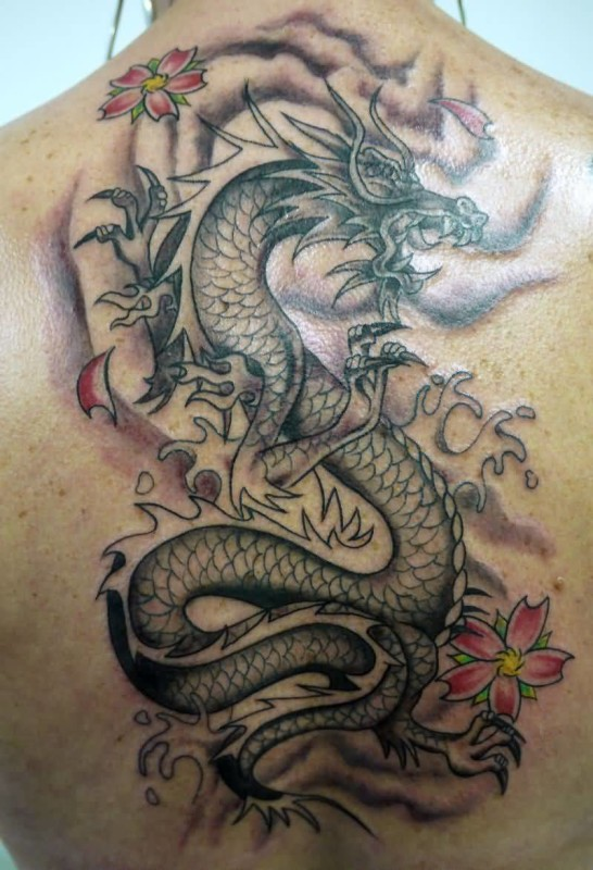 Women Upper  Back Cover Up With Outstanding Dragon Tattoo Design
