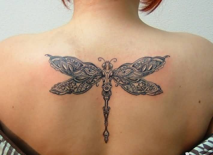 Women Upper Back Decorated With Outstanding Dragonfly Tattoo