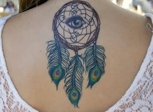 Women Upper Back Decorated With Outstanding Eye Dream Catcher Tattoo