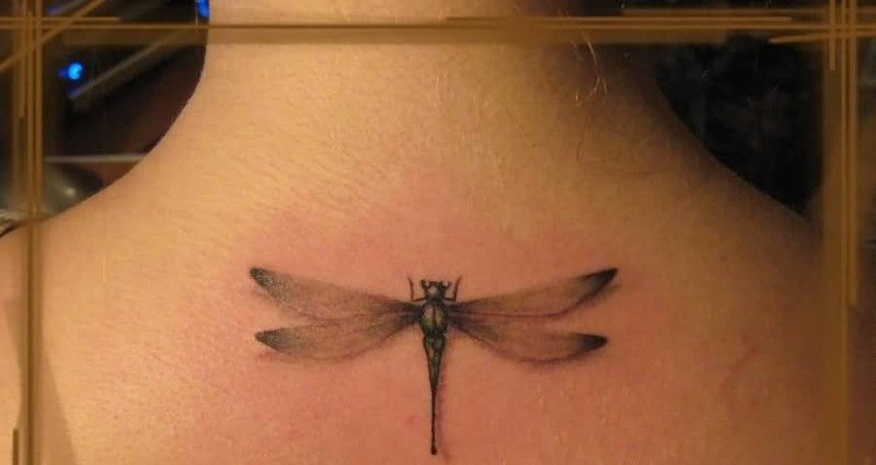 Women Upper Side Back Cover Up With Outstanding  Dragonfly Tattoo