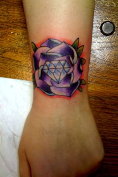 Women Wrist Cover Up With Outstanding Purple Color Diamond Tattoo Design