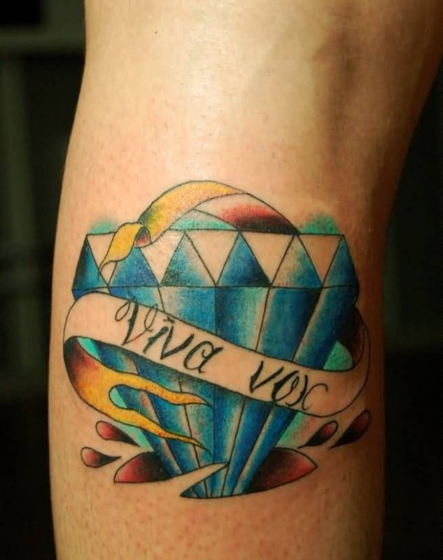 Wonderful 3d Diamond With Amazing Banner Tattoo Design For Pretty