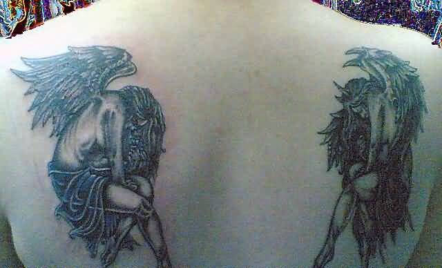 Wonderful Angle With Wings And Devil Tattoo Design For Upper Back