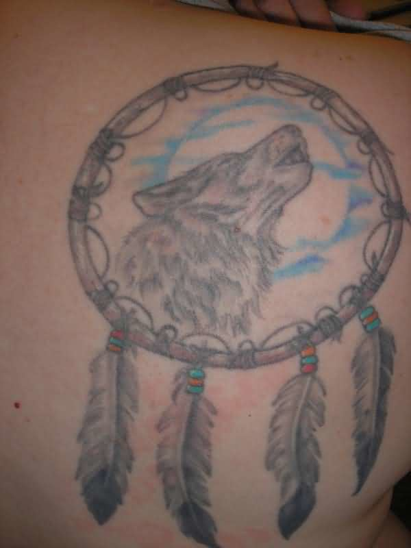 Wonderful Angry Roaring Wolf In Simple Dream Catcher Tattoo Make On Upper Side Back