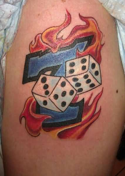 Wonderful Flaming Dice Tattoo Design Made By Ink
