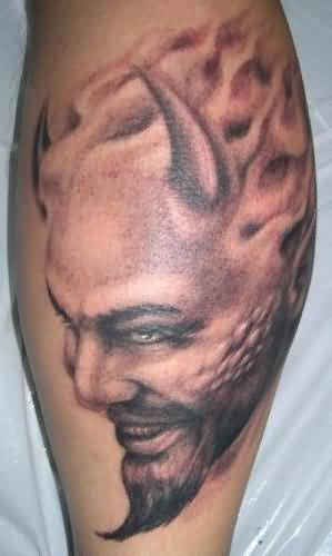 Wonderful Old Demon Face Tattoo Design Made By Perfect Artist