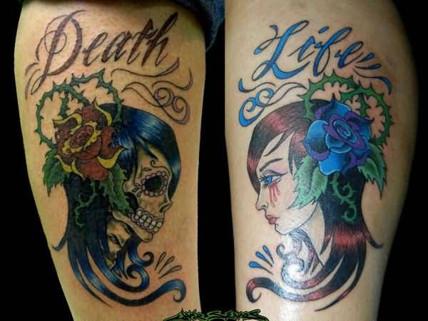 Wonderful Sugar Skull And Sweet Sad Carrying Girl Design With Amazing Death Life Letter Tattoo