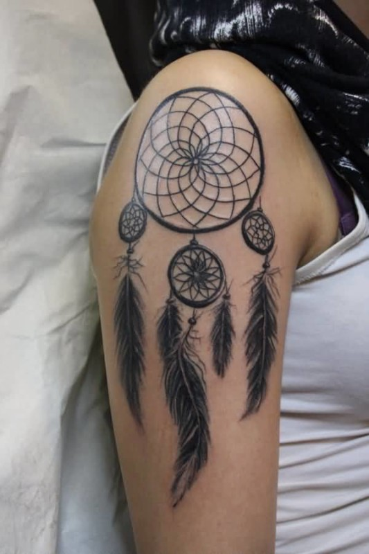 Wonderful Upper Sleeve Cover  Up With Outstanding Dream Catcher  Tattoo