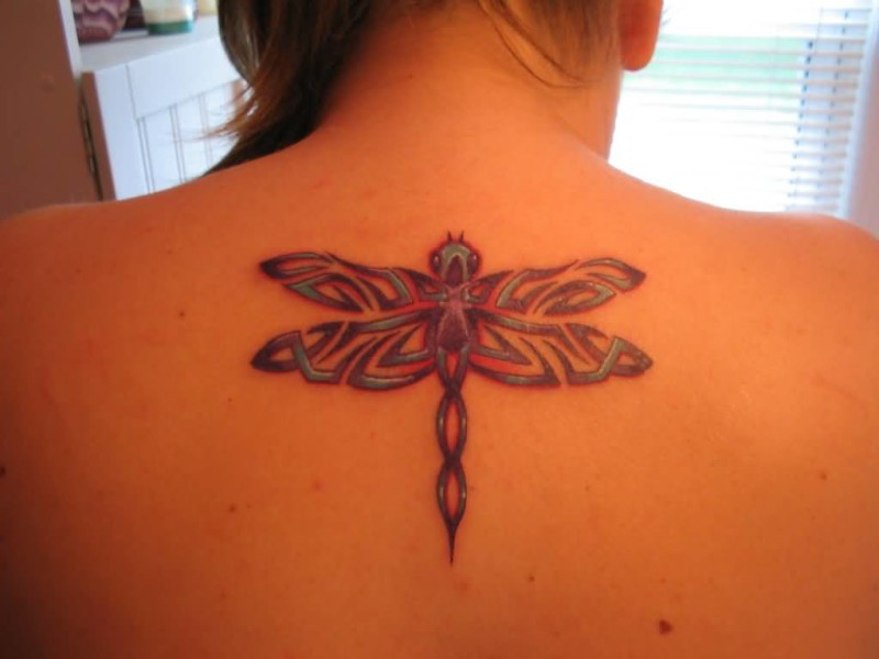 cb3f8515e5c4e Young Girl Upper Back Decorated With Outstanding Dragonfly Tattoo