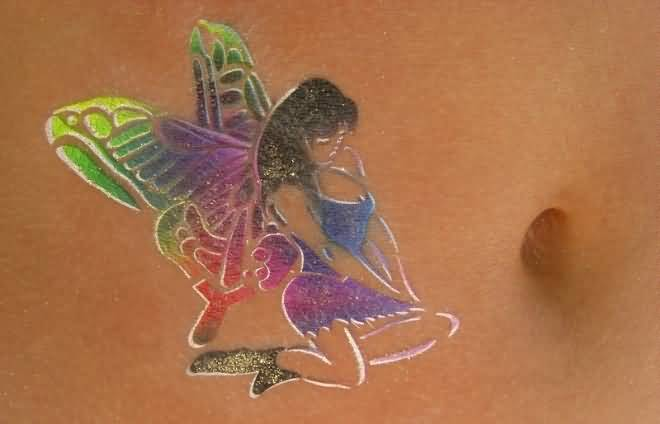 Amazing Butterfly Wings Sweet Hot Feminine Fairy Tattoo Make On Belly