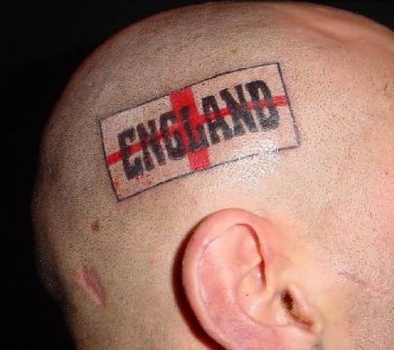Amazing England Flag Tattoo Design Make On Men's Head